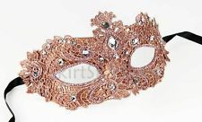 Venetian Mask Brocade Crystals Masquerade Crystals Copper Pink Costume Ball Prom