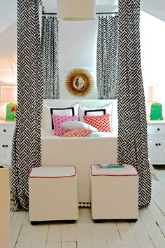 black and white boldness with pops of color and lots of white - very clean