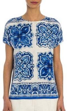 Dolce & Gabbana Tile-Print Stretch-Silk Charmeuse Blouse, Fashion, Blue Majolica, h-a-l-e.com #SummerBlue