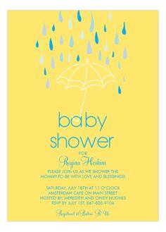 Baby Shower Umbrella Boy Invitation