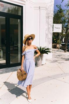 Feminine spring style, off the shoulder dress