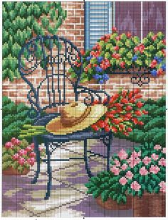 This Pin was discovered by Sem Funny Cross Stitch Patterns, Cross Stitch Charts, Ribbon Embroidery, Cross Stitch Embroidery, Cross Stitch House, Cross Stitch Landscape, Cross Stitch Flowers, Loom Patterns, Cross Stitching