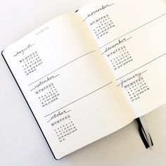 A simple, minimal, bullet journal future log