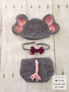 Newborn Elephant Hat and Diaper Cover Crochet Pattern. Pattern includes details to make an newborn size hat, elephant ears, diaper cover, tail, and bows or bow tie. Newborn Elephant, Elephant Hat, Crochet Elephant, Elephant Pattern, Newborn Crochet Patterns, Crochet Baby, Crochet Ideas, Diaper Cover Pattern, Digital Pattern