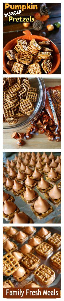 Pumpkin Hugged Pretzels Great for Thanksgiving or aHalloween season treat! Pumpkin Recipes, Fall Recipes, Holiday Recipes, Snack Recipes, Dessert Recipes, Fall Desserts, Just Desserts, Delicious Desserts, Yummy Food