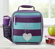 Fairfax Turquoise/Plum Stripe Lunch Bag #pbkids