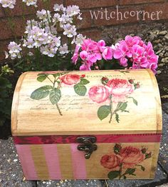 Vintage style Paris roses wooden box large by witchcorner, $42.00