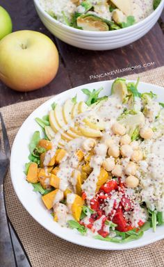 Hearty and filling, this fall Buddha Bowl with Maple Tahini Dressing is a simple vegan, gluten free meal idea. Ready in just minutes, this Buddha bowl is perfect for lunch or dinner!