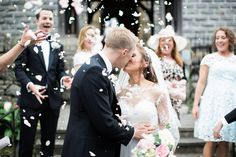 Church Confetti Exit   Melissa Beattie Photography   Intimate Pastel Country Wedding   Gossel Ridding Wedding Venue near Lake Windermere   Black Tie   Pale Blue Bridesmaid Dresses   Romantic Lace Bridal Gown from Agape Bridal Boutique