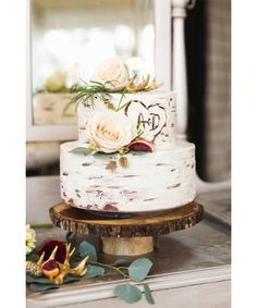 Rustic Weddings on Pinterest - I love this birch bark style cake - perfect for a country barn wedding. pinned from DuJour