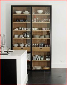 Glass Kitchen Cabinet Doors, Glass Front Cabinets, Farmhouse Kitchen Cabinets, Crockery Cabinet, Upper Cabinets, Small Cabinet, Glass China Cabinet, Kitchen Armoire, Kitchen Display Cabinet