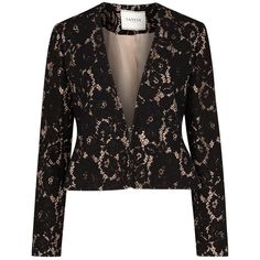 Womens Evening Jackets Lanvin Black Lace Jacket ($1,820) ❤ liked on Polyvore featuring outerwear, jackets, lace evening jacket, evening jackets, lanvin, special occasion jackets and lanvin jacket