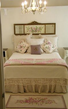 lovely cottage bedroom - love the bed linens and room details