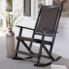 Furniture U0026 Accessories, Furniture Gorgeous Black Wood Outdoor Folding  Rocking Chair Along With Tall Metal