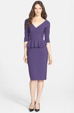 New La Petite Robe By Chiara Boni Jersey Peplum Sheath Dress IT 42(US 4) Purple #lapetiteRobeChiaraboni #Cocktail