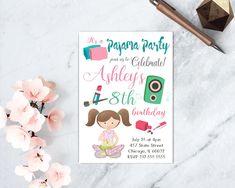 Sleepover Birthday Invite, Sleepover Girl Party, Printable Spa Invitation, Slumber Party, Pajama Party Printable, Slumber Sleepover Invite