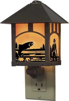 This craftsman style night light will light the way while adding to your lake or fishing theme.Easy On/Off switch, easily replaceable bulb, UL approved for all home locations.