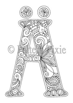 Adult Colouring Page Alphabet Letter German A