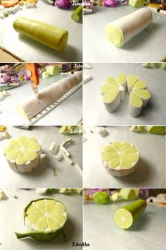 This same method can be used to make lemon and orange slices. She also gives some tips on making super soft polymer clay a little LESS soft. Check out her blog for more tutorials.