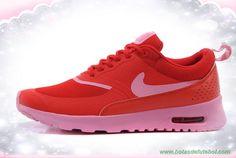 599409-007 Nike Air Max Thea Print Rosa Pow/Fireberry Mulheres chuteiras de futsal baratas