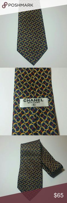 """CHANEL BOUTIQUE TIE Rope and rings print beautiful Chanel boutique men's tie in excellent condition  4"""" wide 60""""long 100%silk CHANEL Accessories Ties"""