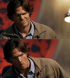 "Jared Padalecki as Sam Winchester - Supernatural - 3x03 - ""Bad Day at Black Rock"" Dean: ""Don't even scratch your nose!"" ... *checks to make sure Dean left* ... *scratches*"