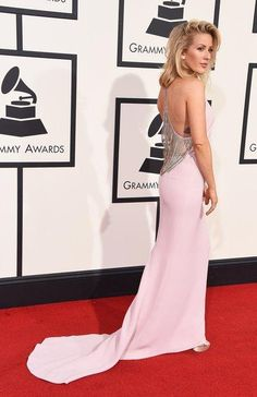 Ellie Goulding in a pale pink Stella McCartney dress with an embellished back