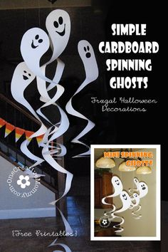 Frugal Decorating for Halloween {Cardboard Spinning Ghosts}