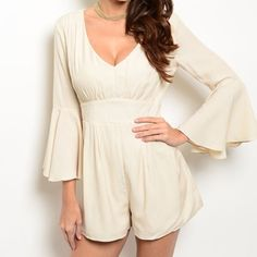 COMING SOON! Sexy off-white Romper M Super cleavage, pirate sleeves, amazing cut will make this romper look fantastic on you! Like this listing and I will tag you once avail Dresses