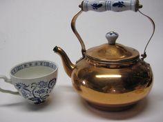 Vintage Copper Tea Kettle Delft Blue Porcelain by PSSimplyVintage,