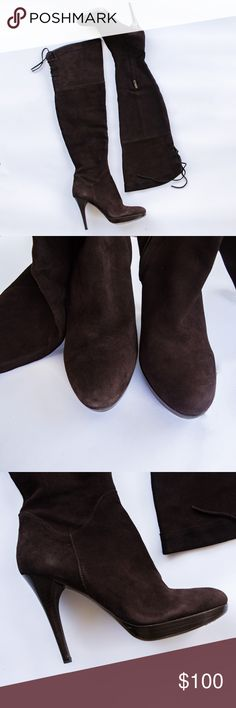 Sam Edelman Over the knee suede boots sz8m Gorgeous Sam Edelman over the knee suede dark brown boots size 8m. Minimal wear.  bin 114 Sam Edelman Shoes Over the Knee Boots