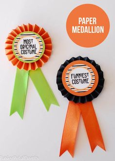 Paper and ribbon awards - the multiple layers of circles in contrasting colors and prints are really nice.: