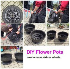 Surprising Cool Ideas: Car Wheels Chair car wheels diy old tires. Outdoor Projects, Garden Projects, Tire Craft, Tire Garden, Potted Garden, Potted Plants, Tire Planters, Tyres Recycle, Recycled Tires