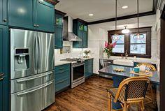 Small kitchen remodel - House of Turquoise: Kathryn Johnson Interiors Turquoise Kitchen Cabinets, Diy Kitchen Cabinets, Kitchen Redo, Kitchen Colors, New Kitchen, Kitchen Remodel, Kitchen Design, Cheap Kitchen, Kitchen Layout