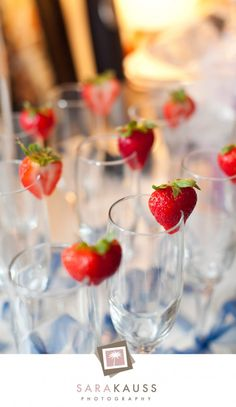 Paris Themed Twins Baby Shower  Champagne Glasses with Strawberries