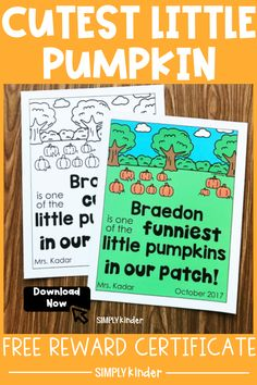 Celebrate your kinders for awesome work with a cute fall pumpkin certificate! This free printable is easy to get and editable, so use it however you would like to acknowledge all things! Use this as a great way to pump up your pumpkin unit, by rewarding them with a pumpkin certificate! Get your FREE printable here! Teaching Kindergarten, Teaching Resources, Teaching Ideas, Teacher Blogs, Teacher Hacks, Little Pumpkin, A Pumpkin, Pumpkin Printable, Free Rewards