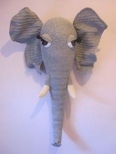 "Large Crochet Wool Mounted Stuffed Trophy Head ""DENNIS"" Grey Elephant Wall Hanging Amigurumi faux taxidermy fiber Art by Cottontailandwhisker on Etsy https://www.etsy.com/listing/242999649/large-crochet-wool-mounted-stuffed"