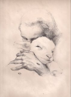 Christian Drawings, Christian Art, Lamb Tattoo, Jesus Drawings, Lion And Lamb, Pictures Of Jesus Christ, Sheep Art, Charcoal Sketch, Prophetic Art