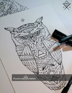 WWW.PuncturedArtefact.com  ready•to•wear•ink collection …. just download and take to a studio   http://www.puncturedartefact.com/flash/4580382563  Geometric Great Horned Owl (1)