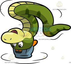 A Dancing Snake:  A snake with green and light yellow skin wears a denim blue cap with orange brim in reverse smiles while spinning around in a headstand dance  #animal #cartoon #clipart #illustration #vector #vectortoons
