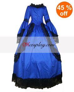 Cutton Blue Long Sleeve Lace Gothic Lolita Dress