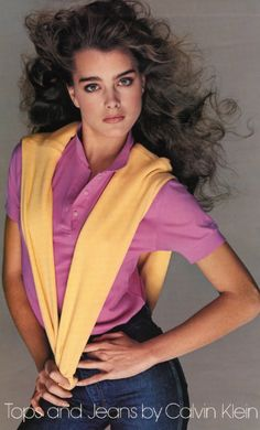 Brooke Shields by Avedon for Calvin Klein Tops and Jeans, 1981. NOte: the polo with wrapped sweater