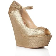 Lipsy Gold Trinity High Heel Shoes (£39) ❤ liked on Polyvore featuring shoes, heels, wedges, zapatos, sapatos, women's clothing, gold shoes, high heel shoes, gold wedges shoes and ankle strap shoes