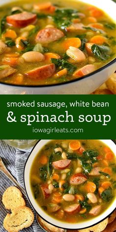 Smoked Sausage, White Bean and Spinach Soup is full of wholesome ingredients and packed with flavor thanks to two special ingredients. | iowagirleats.com #glutenfree White Bean Sausage Soup, Sausage And Kale Soup, Beans And Sausage, Ham And Bean Soup, Spinach Soup, White Bean Soup, Spinach Recipes, Soup Recipes, Healthy Recipes