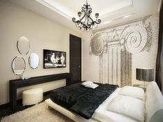 Elegant bedroom design with modern theme.