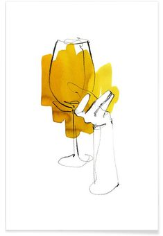 Vino als Premium Poster von Ekaterina Koroleva Hand Illustration, Watercolor Illustration, Watercolor Art, Art Du Vin, Phone Wallpaper Boho, Pix Art, Art Painting Gallery, Black And White Painting, Cool Sketches
