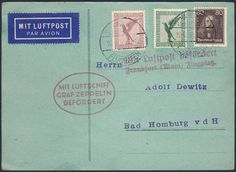 Germany, German Empire, Zeppelin mail 22. 06. 1930, card of the Germany flight (Hamburg-Berlin), handing in for transport Hamburg (victor no. 68 Dc) (Michel. No. DR 378, A379, 397). Price Estimate (8/2016): 60 EUR. Unsold.