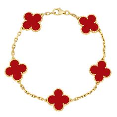 Van Cleef & Arpels Vintage Alhambra Bracelet. loooove the red.  so different.
