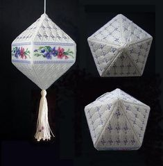 Pinwheel Ponders: Some thoughts on (multi faceted) Cross Stitch Ornaments Plastic Canvas Ornaments, Plastic Canvas Crafts, Plastic Canvas Patterns, Cross Stitch Christmas Ornaments, Christmas Embroidery, Christmas Cross, Cross Stitching, Cross Stitch Embroidery, Embroidery Patterns