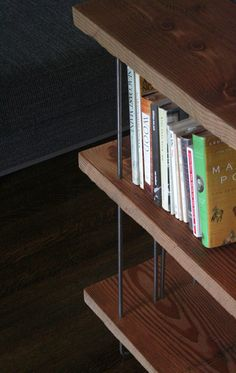 modern industrial book shelf from reclaimed old growth wood and recycled content steel - bookshelf - shelving von birdloft auf Etsy https://www.etsy.com/de/listing/115088343/modern-industrial-book-shelf-from